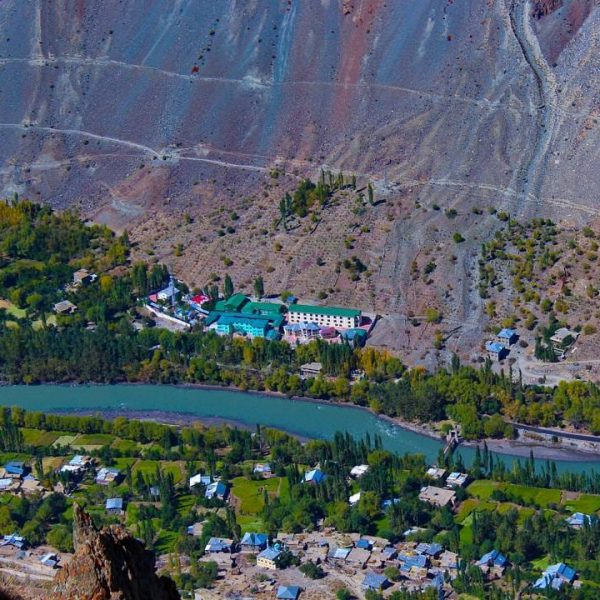 The high view of a village of Leh