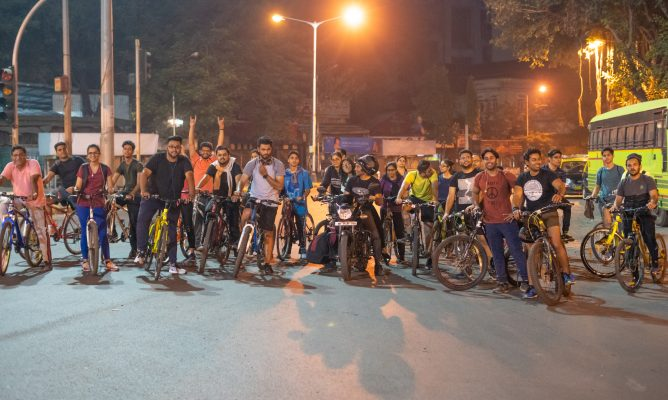 Midnight cycling at Colaba